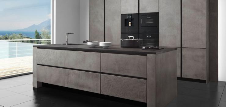 k che im edlen steingrau mit einzigartiger betonoberfl che k chenkompass. Black Bedroom Furniture Sets. Home Design Ideas